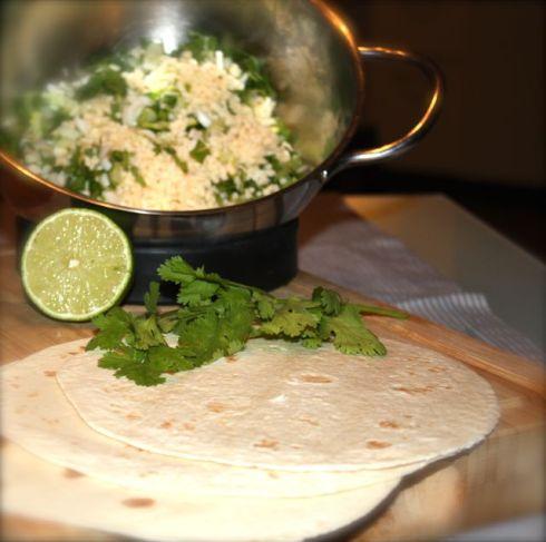 Zubereitung Quesadillas mit Sour Cream Koriander Dip