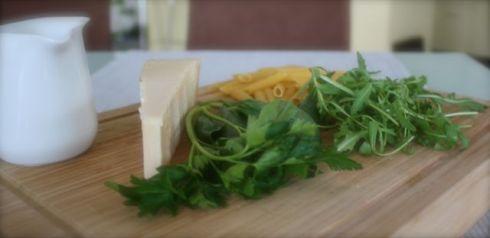 Zubereiung Penne mit lauwarmem Rucola-Pesto